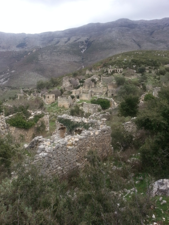 The ruins of Tragjas, March 2013. The gully on the mountainside in the far distance is apparently where Sapling 7 crashed