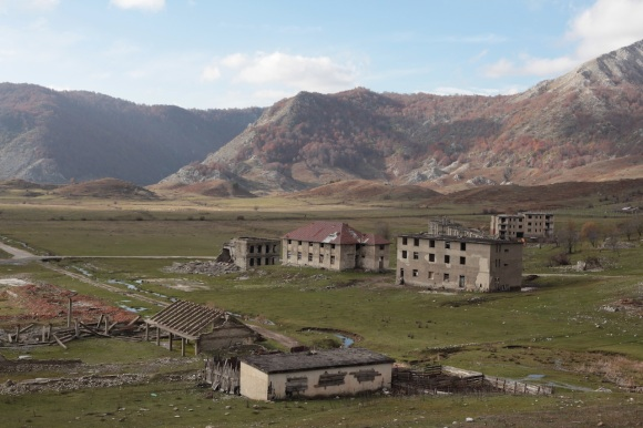 The site of the SPILLWAY mission's HQ, November 2012. The ruined buildings date from the 1950s, and were destroyed in the anarchy of 1997