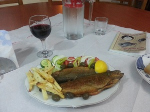 Delicious fresh fish - the speciality at Hasa Hotel, Fushe-Studën