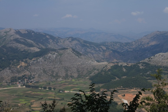 Looking back on Fushe-Studën. Davies' party would have arrived from Okshtun on the ridge centre right
