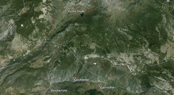 The area south of Fushe-Studën courtesy of Google Earth. You'll notice there's not a lot going on there