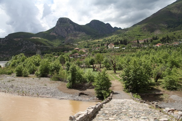 View from an Ottoman bridge across the Shkumbini river, between Librazhd and Elbasan. Labinot is about two hours' walk, behind the rocky hill to the left