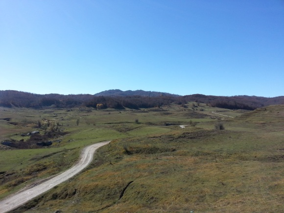"The Bizë plateau, home to Brigadier ""Trotsky"" Davies' SPILLWAY mission in autumn/winter 1943, photographed in October 2013"