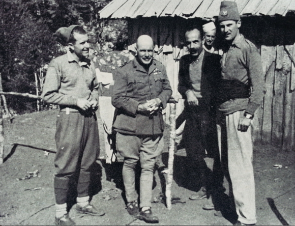 Brig 'Trotsky' Davies (centre) with Fred Nosi (left) and Major Neil 'Billy' McLean, at Bizë October 1944